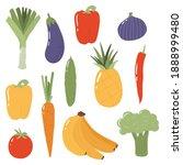 fresh fruits and vegetables.... | Shutterstock .eps vector #1888999480