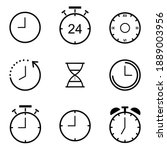 time and clock line icons set.  ...   Shutterstock .eps vector #1889003956