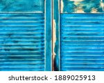 Aged Grunge Weathered Blue Door ...