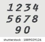 vector black grunge numbers set. | Shutterstock .eps vector #1889029126