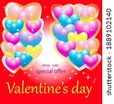 multicolored balloons hearts...   Shutterstock .eps vector #1889102140