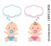 little baby boy and baby girl.... | Shutterstock .eps vector #188911808