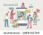influencer advertising... | Shutterstock .eps vector #1889142769