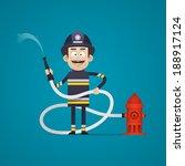 fireman holds fire hose and... | Shutterstock .eps vector #188917124