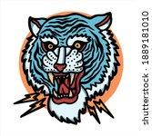 blue tiger tattoo vector design   Shutterstock .eps vector #1889181010