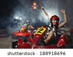 girl is driving go kart with... | Shutterstock . vector #188918696