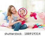 happy mother and baby girl with ... | Shutterstock . vector #188919314