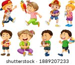 set of different kid playing... | Shutterstock .eps vector #1889207233