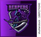 hood reaper glow blue color... | Shutterstock .eps vector #1889274340
