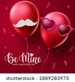 valentines couple balloons...   Shutterstock .eps vector #1889283973
