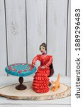 Small photo of Plasticine modelling clay. Figure of russian woman. Home developing activities, creative idea, hobby. Plasticine sculpture. Sculpts from plasticine modelling clay. Create toy, shapes of plasticine