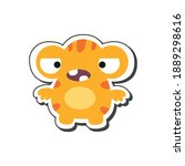 Cute Yellow Cartoon Monster...
