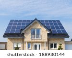 new house with solar panels on... | Shutterstock . vector #188930144