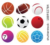 simplified sport balls icon set ... | Shutterstock .eps vector #188932784