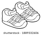 children's shoes line vector... | Shutterstock .eps vector #1889332606