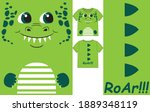 cute dino smile face and spikes ... | Shutterstock .eps vector #1889348119