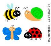 butterfly  snail  lady bug... | Shutterstock . vector #1889363479