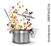 cooking vegetable soup from...   Shutterstock .eps vector #1889365216