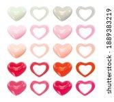 set of realistic ceramic hearts ...