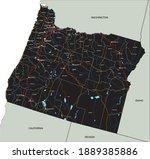 high detailed oregon road map... | Shutterstock .eps vector #1889385886