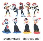 skeletons in mexican... | Shutterstock .eps vector #1889407189