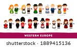 europeans in national clothes.... | Shutterstock .eps vector #1889415136