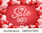 valentine's day sale 50  off...   Shutterstock .eps vector #1889417893