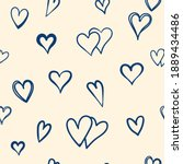 hand drawn pattern with heart...   Shutterstock .eps vector #1889434486