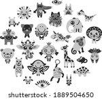 set of cute cartoon animals and ... | Shutterstock .eps vector #1889504650