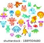 set of cute cartoon animals and ...   Shutterstock .eps vector #1889504680
