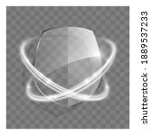 3d transparent shield icon with ...   Shutterstock . vector #1889537233