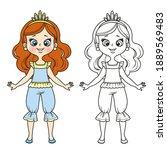 cute princess in pajamas ...   Shutterstock .eps vector #1889569483