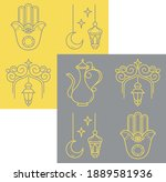 collection of islam icons... | Shutterstock .eps vector #1889581936