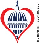 washington dc capitol dome with ... | Shutterstock .eps vector #1889583106