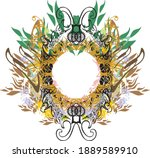 decorative eagle frame floral... | Shutterstock .eps vector #1889589910