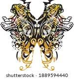 splattered butterfly wings with ... | Shutterstock .eps vector #1889594440