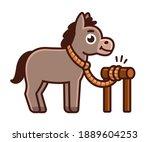 cute cartoon donkey tied to... | Shutterstock .eps vector #1889604253