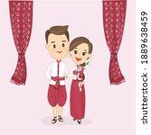 cartoon couple in thai costume...   Shutterstock .eps vector #1889638459