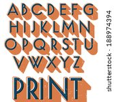 retro vector font. vintage... | Shutterstock .eps vector #188974394