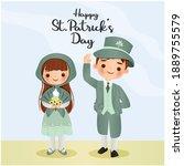 cute boy and girl cartoon... | Shutterstock .eps vector #1889755579