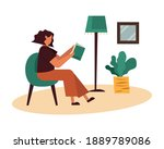 woman on chair reading a book... | Shutterstock .eps vector #1889789086