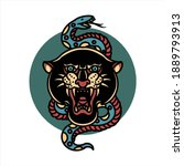 panther and snake tattoo vector ...   Shutterstock .eps vector #1889793913
