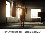 young man boxing workout in an... | Shutterstock . vector #188983520