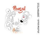 illustration of happy pongal...   Shutterstock .eps vector #1889847310