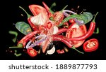 red chili pepper flying with...   Shutterstock .eps vector #1889877793