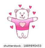 cute bear in love with hearts... | Shutterstock .eps vector #1889890453