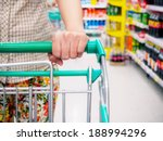 woman with shopping cart in... | Shutterstock . vector #188994296