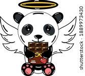 kawaii romance panda who eats... | Shutterstock .eps vector #1889973430