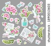 vector set of cute stickers... | Shutterstock .eps vector #1890013603