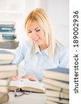 beautiful student girl sitting... | Shutterstock . vector #189002936